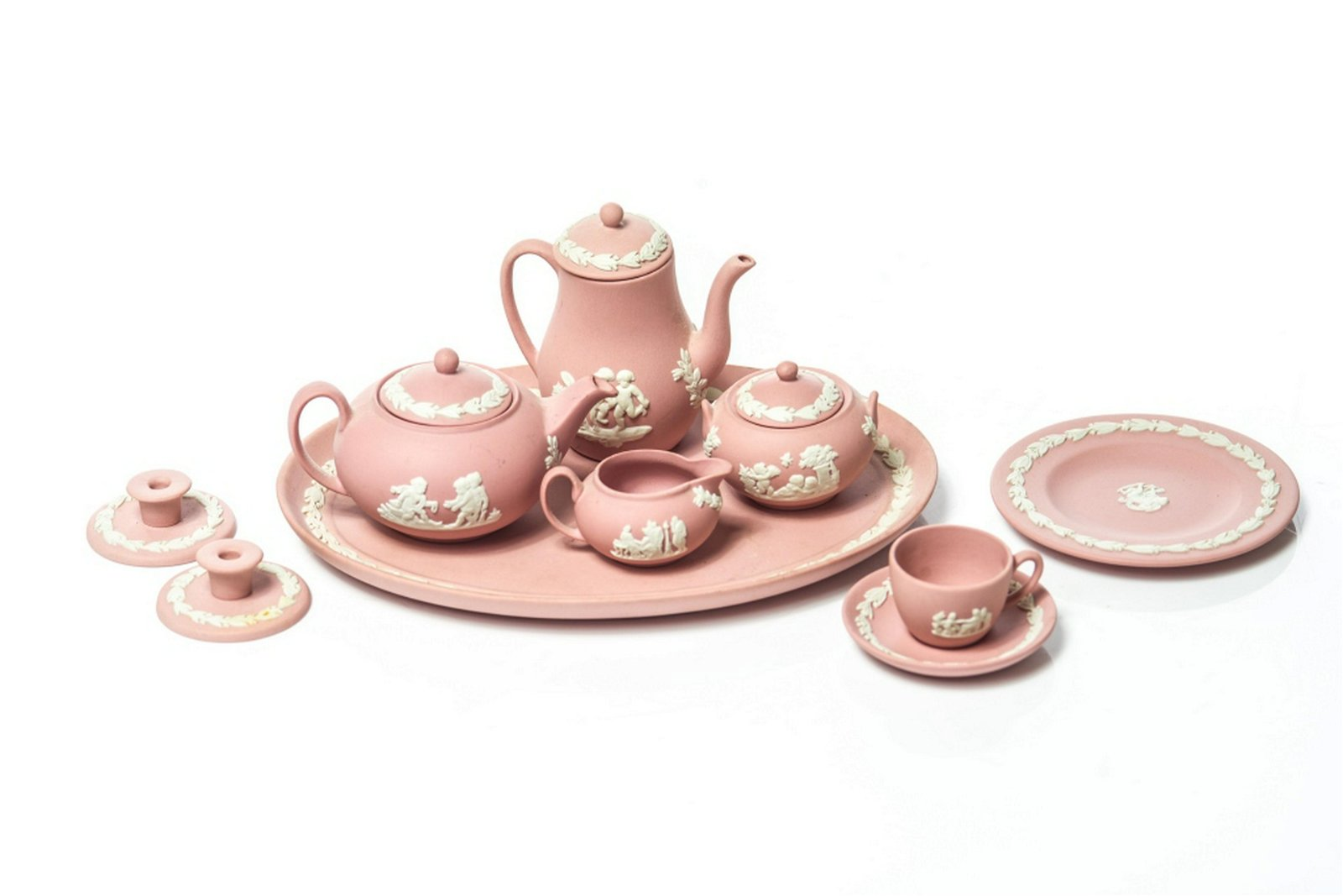 A MINIATURE PINK WEDGWOOD JASPERWARE TEA SET