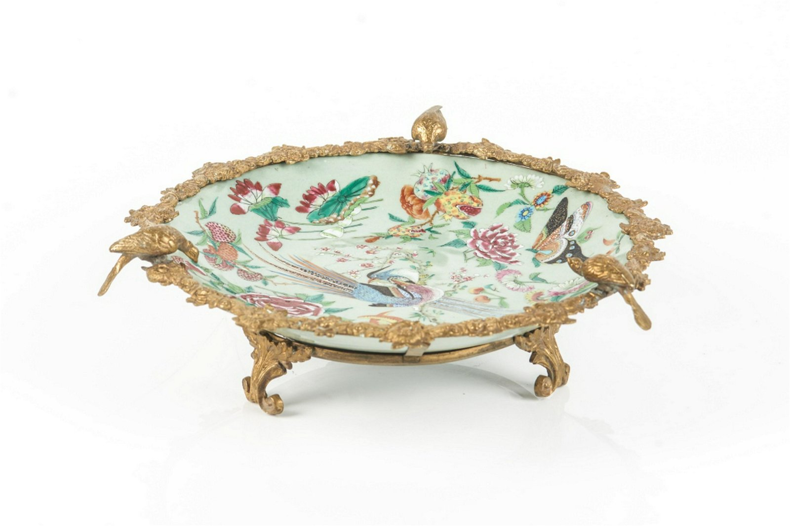 CHINESE CANTON EXPORT DISH WITH EUROPEAN MOUNTS