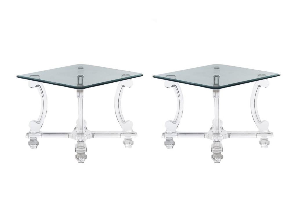 A PAIR OF LUCITE AND GLASS SIDE TABLES
