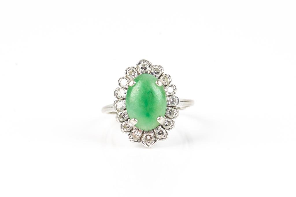 VINTAGE JADEITE & DIAMOND COCKTAIL RING