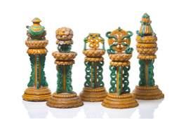 RARE FIVE PIECE SANCAI ALTAR WITH BUDDHIST EMBLEMS