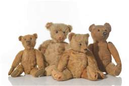 FOUR ANTIQUE STEIFF TEDDY BEARS
