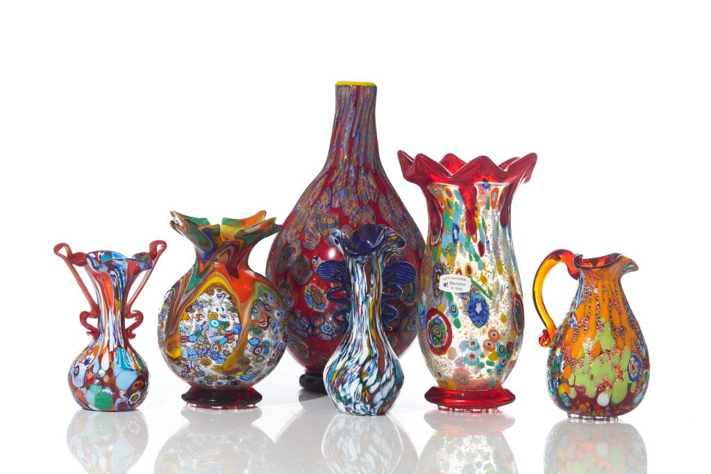 ASSORTED LOT OF MURANO GLASS VASES