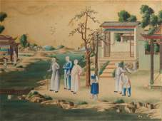 LARGE FRAMED 18TH C CHINESE EXPORT PAINTING