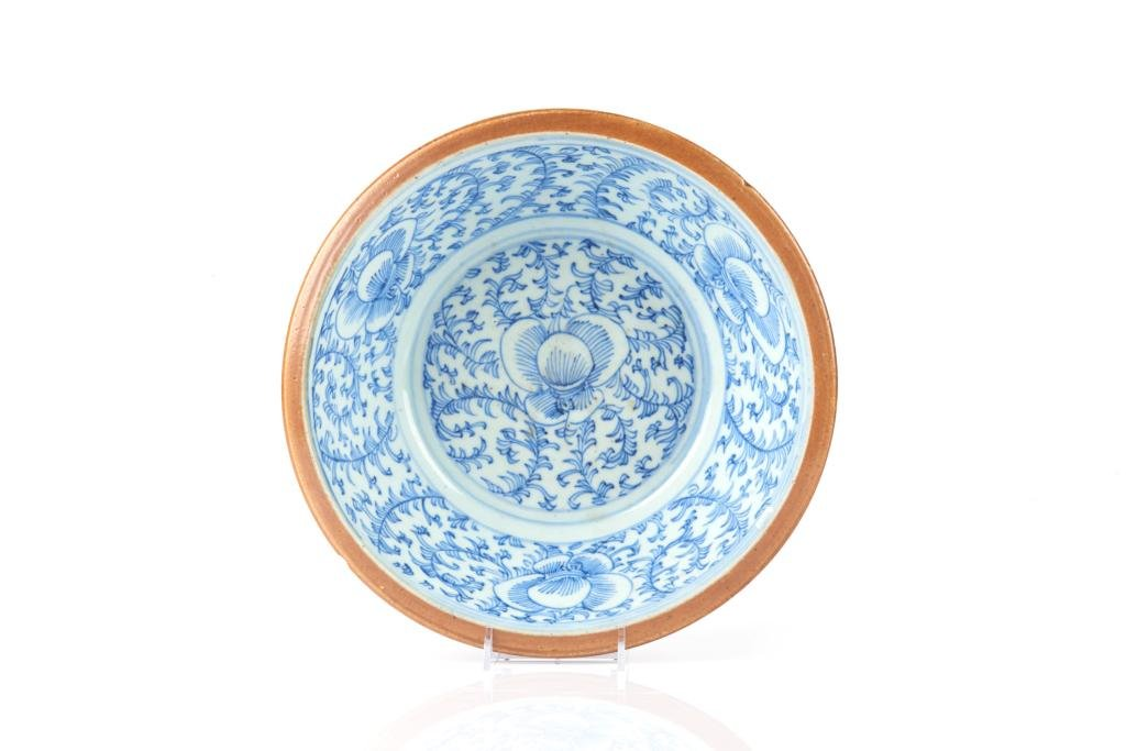 LARGE CHINESE BLUE & WHITE PORCELAIN BOWL