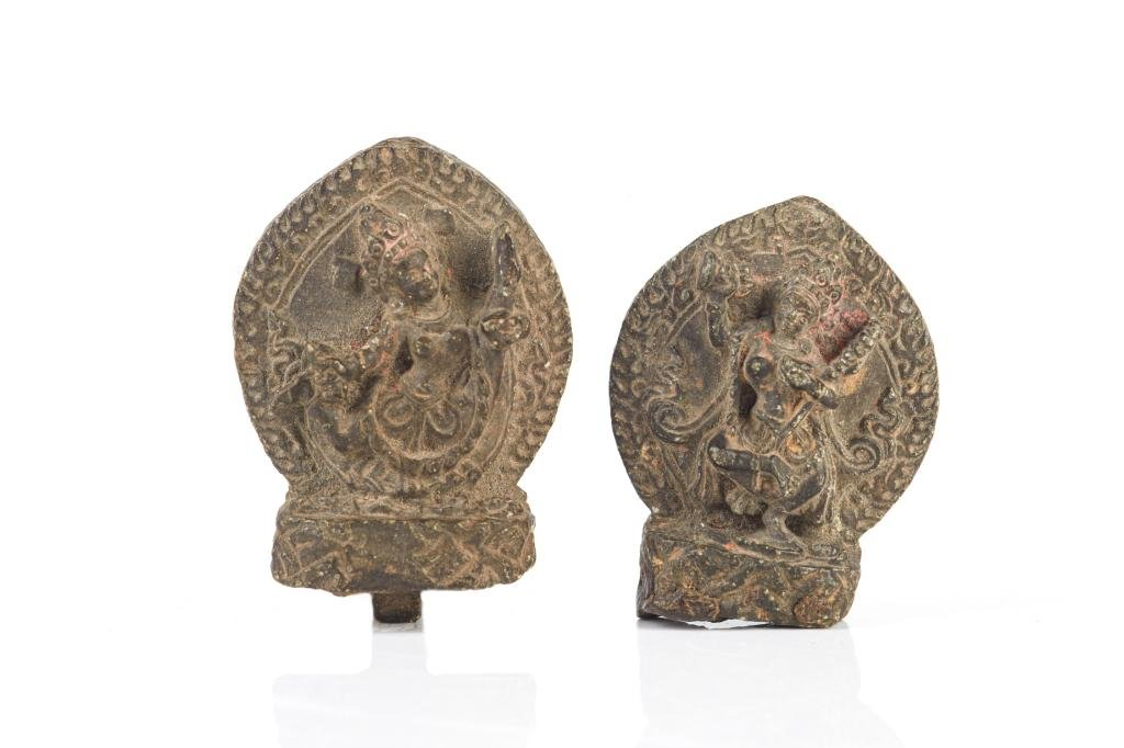 TWO 17TH C. NEPAL STONE FIGURES OF VAJRAYOGINI