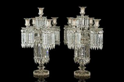 LARGE PAIR OF FRENCH CUT GLASS TABLE CANDELABRA