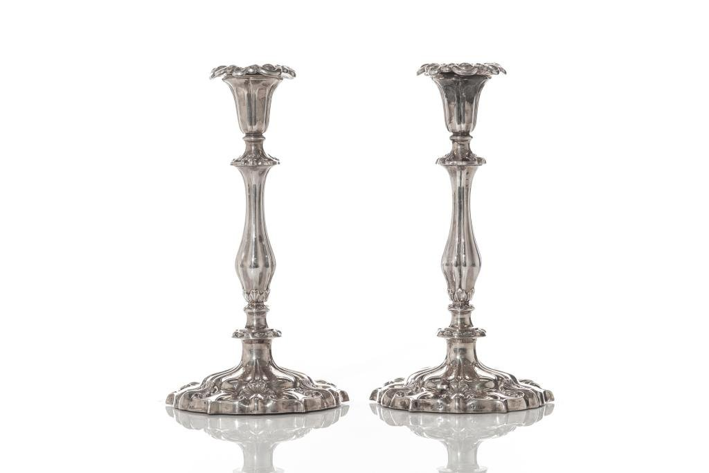 PAIR OF VICTORIAN ENGLISH SILVER CANDLESTICKS
