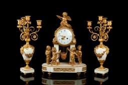 FRENCH GILT BRONZE  WHITE MARBLE CLOCK GARNITURE