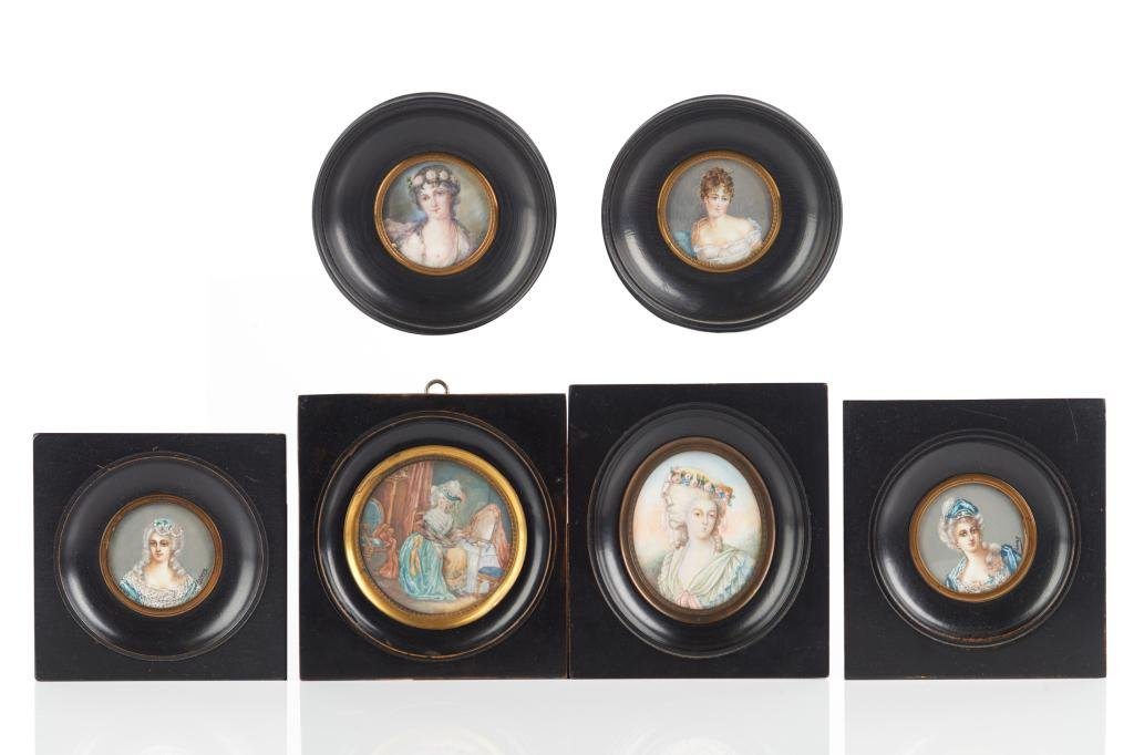 GROUP OF SIX FRENCH PORTRAIT MINIATURES