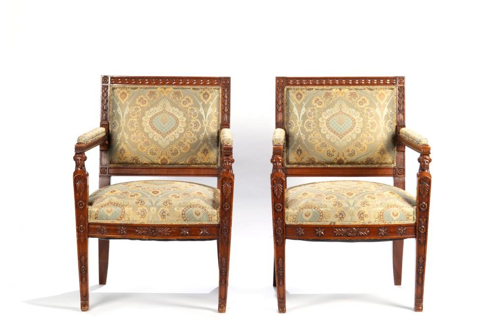 PAIR OF 19TH C CONTINENTAL CARVED ARM CHAIRS