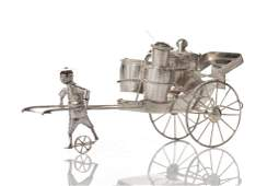 CHINESE EXPORT SILVER RICKSHAW CONDIMENT SET