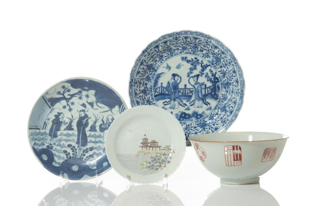 FOUR CHINESE PORCELAIN BOWLS AND DISHES