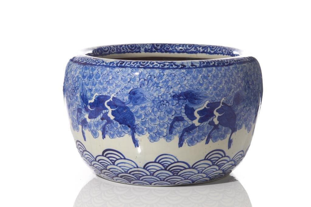 JAPANESE BLUE & WHITE PORCELAIN FISH BOWL JAR