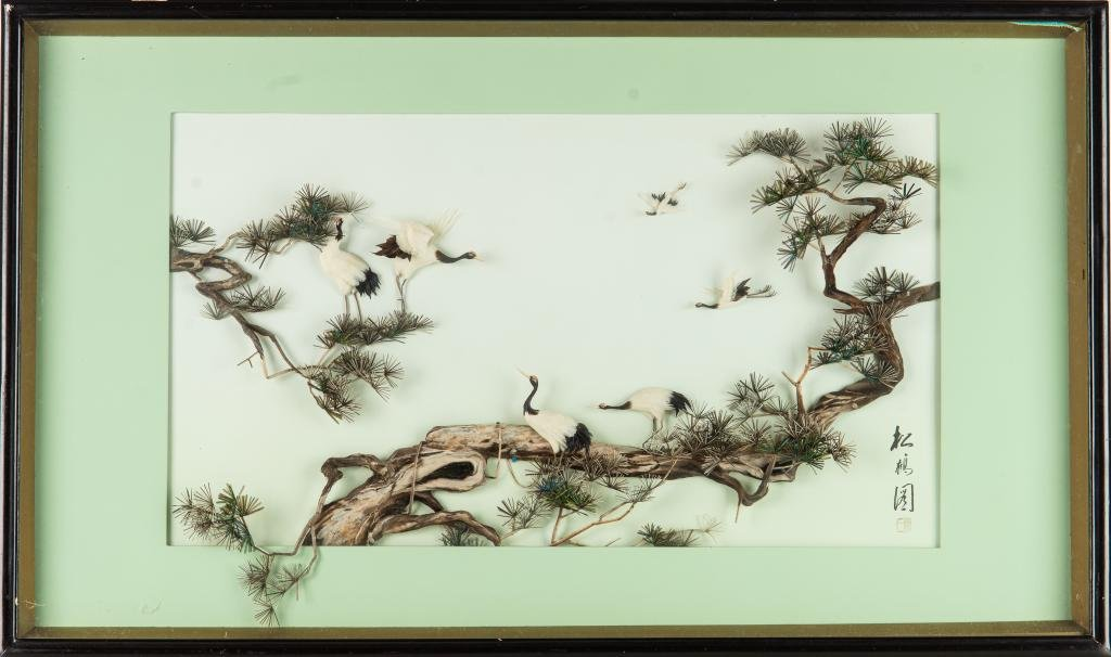 CHINESE COLLAGE DECORATIVE FRAME WITH CRANE & PINE