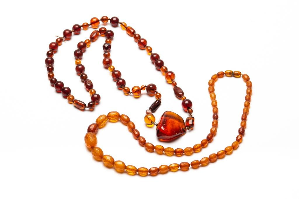 TWO AMBER BEADED NECKLACES