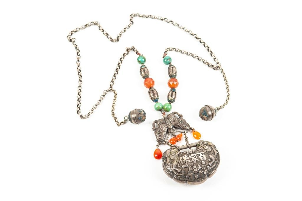 CHINESE SILVER LOCK NECKLACE