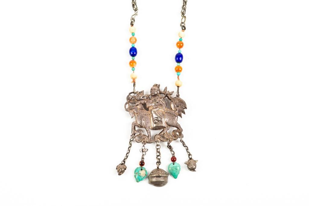 CHINESE SILVER & BEADED STONE NECKLACE