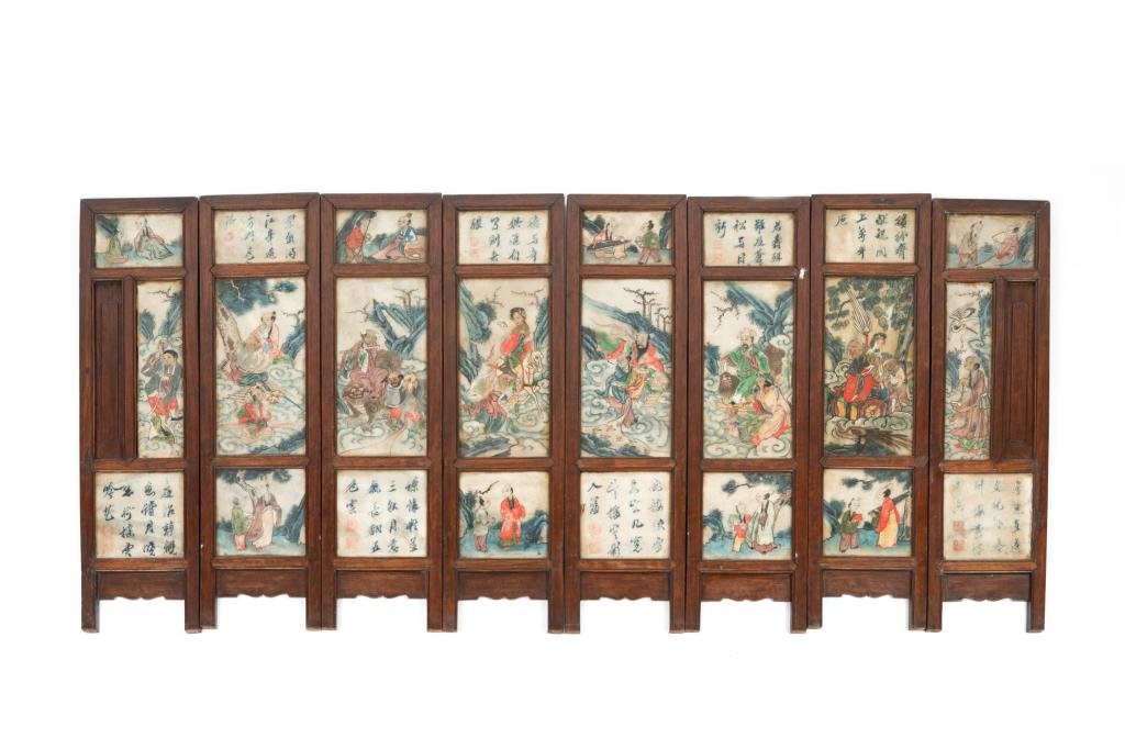 CHINESE EIGHT PANEL STONE INSET SCREENS