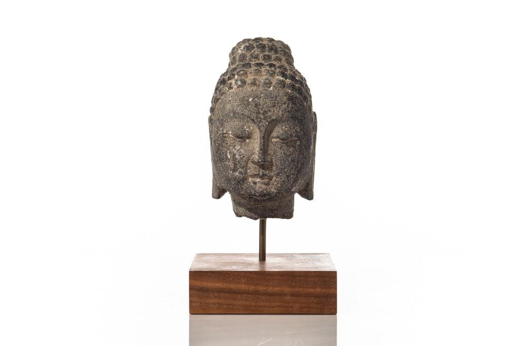 CHINESE STONE CARVED BUDDHA HEAD ON STAND