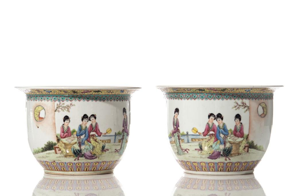 PAIR OF CHINESE PORCELAIN PLANTERS WITH LADIES