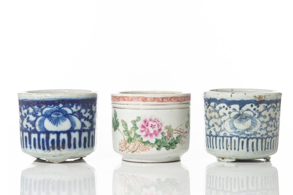 THREE CHINESE PORCELAIN CENSERS