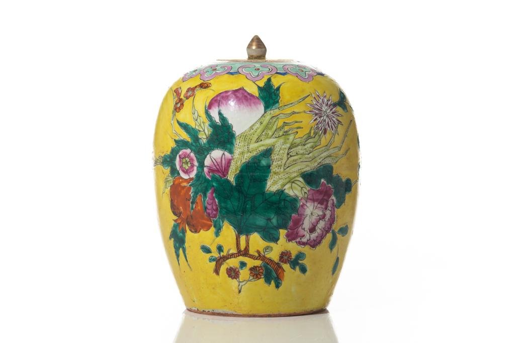 CHINESE YELLOW GROUND PORCELAIN JAR