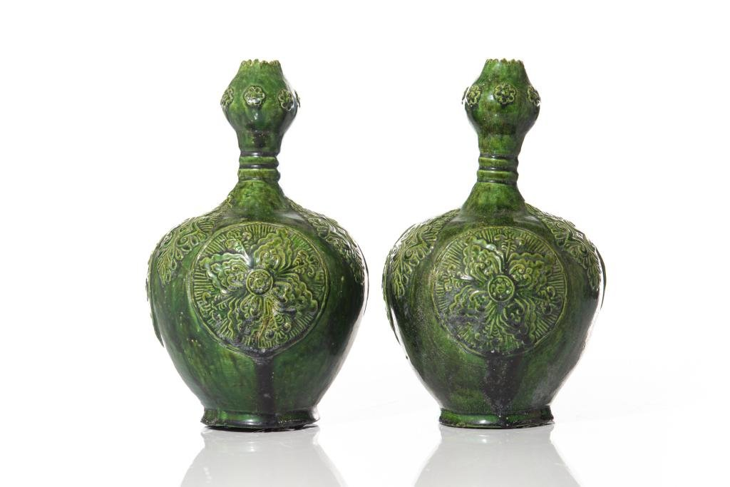 PAIR OF CHINESE GREEN GLAZED MOLDED VASES