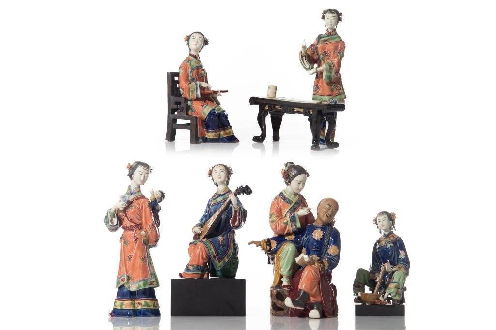 GROUP OF SIX CHINESE SHIWAN POTTERY FIGURES
