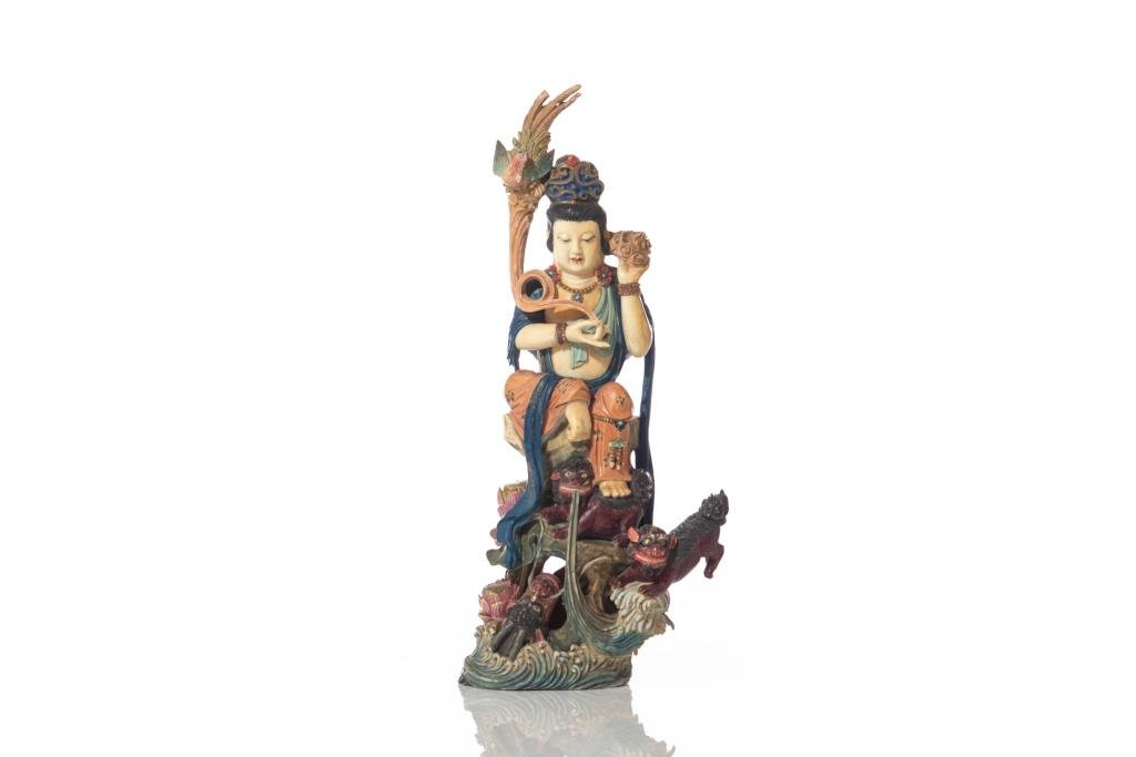 POLYCHROME PAINTED NATURAL CARVED GUANYIN FIGURE