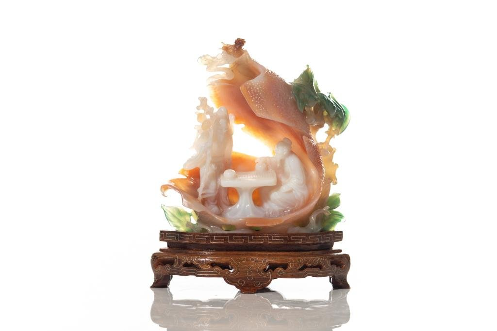 CHINESE AGATE CARVED SCHOLAR & IMMORTAL GROUP