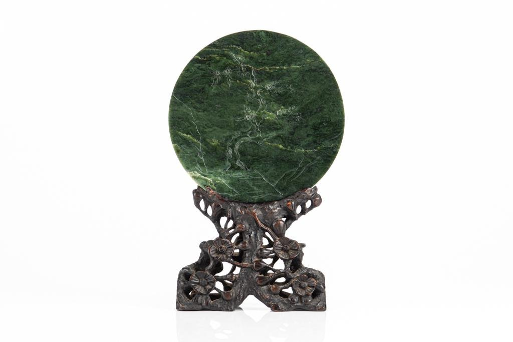 SPINACH JADE CARVED PLAQUE ON WOOD STAND