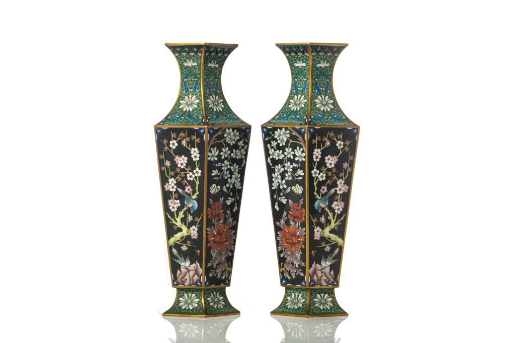 FINE PAIR CHINESE HEXAGONAL FORM CLOISONNE VASES