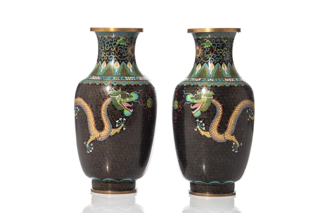 PAIR OF CHINESE BLACK GROUND CLOISONNE VASES