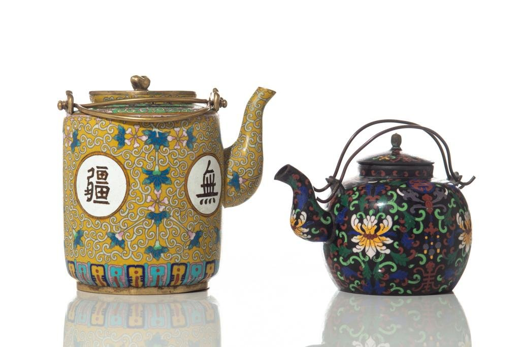 TWO CHINESE CLOISONNE TEA POT