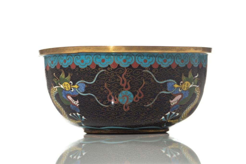 CHINESE BLACK GROUND CLOISONNE DRAGON BOWL