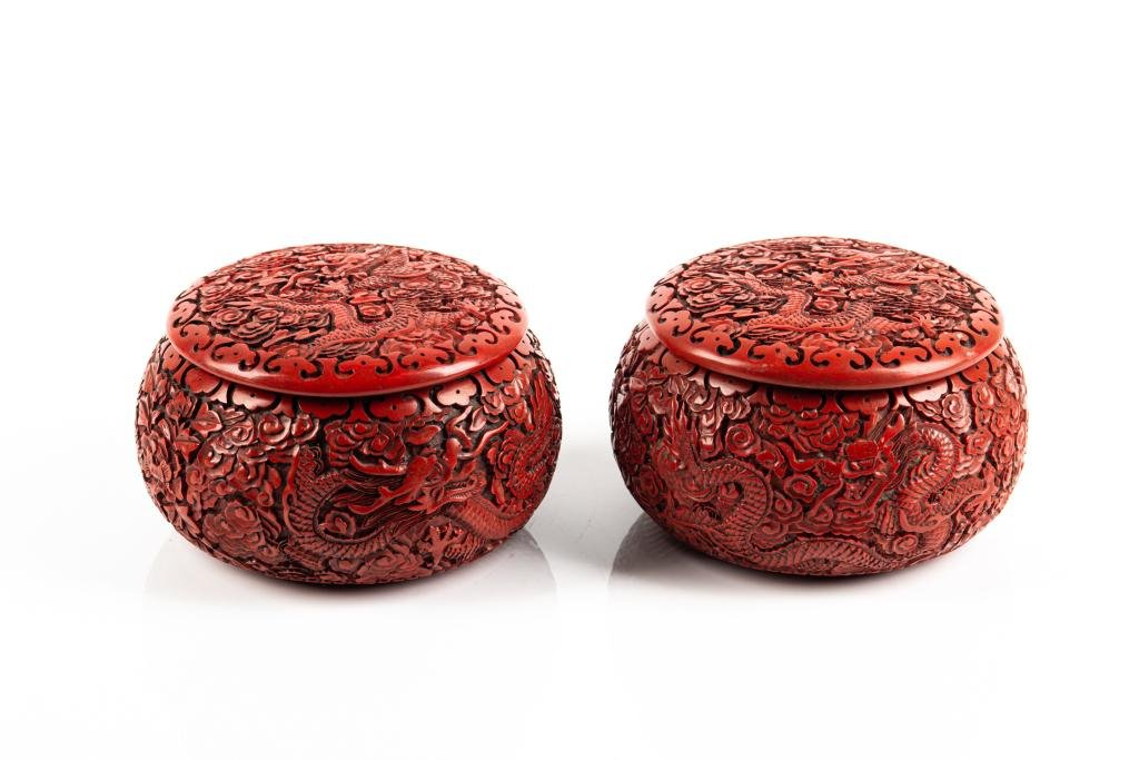 PAIR OF CINNABAR LACQUER GO PIECE BOXES