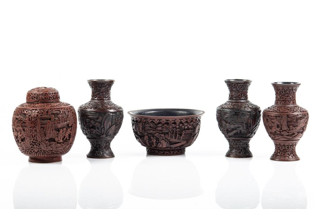FIVE CINNABAR LACQUER CARVED PIECES