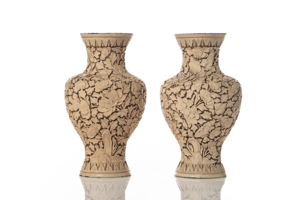 PAIR OF CHINESE WHITE LACQUER VASES