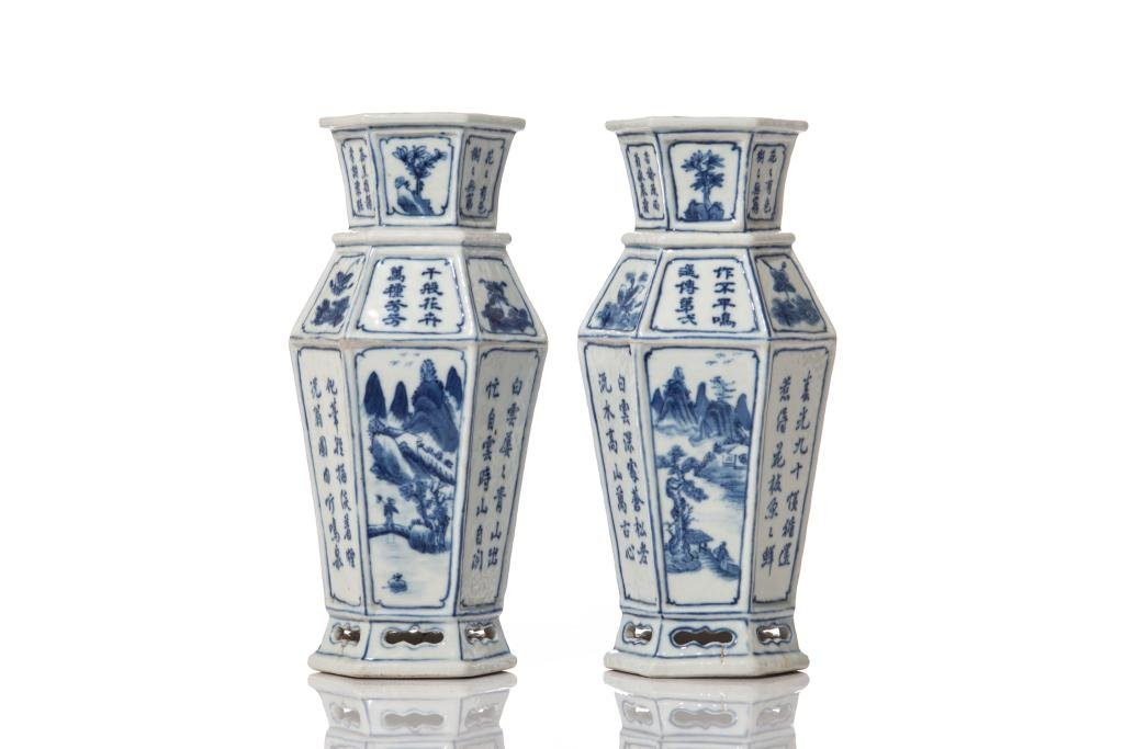 PAIR OF BLUE & WHITE PORCELAIN HEXAGONAL VASES