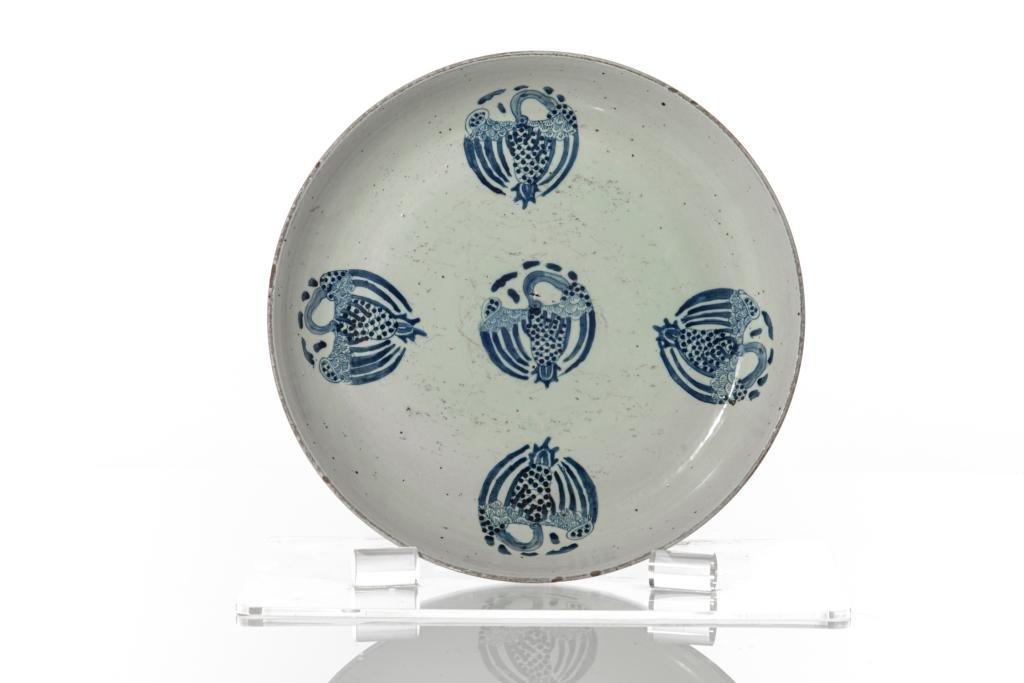LARGE CHINESE BLUE & WHITE PORCELAIN PHOENIX DISH