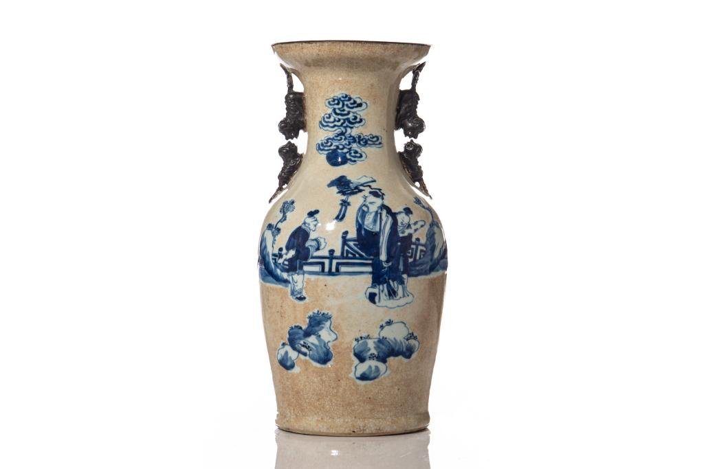 CHINESE BLUE & WHITE ON CRACKLE GROUND VASE
