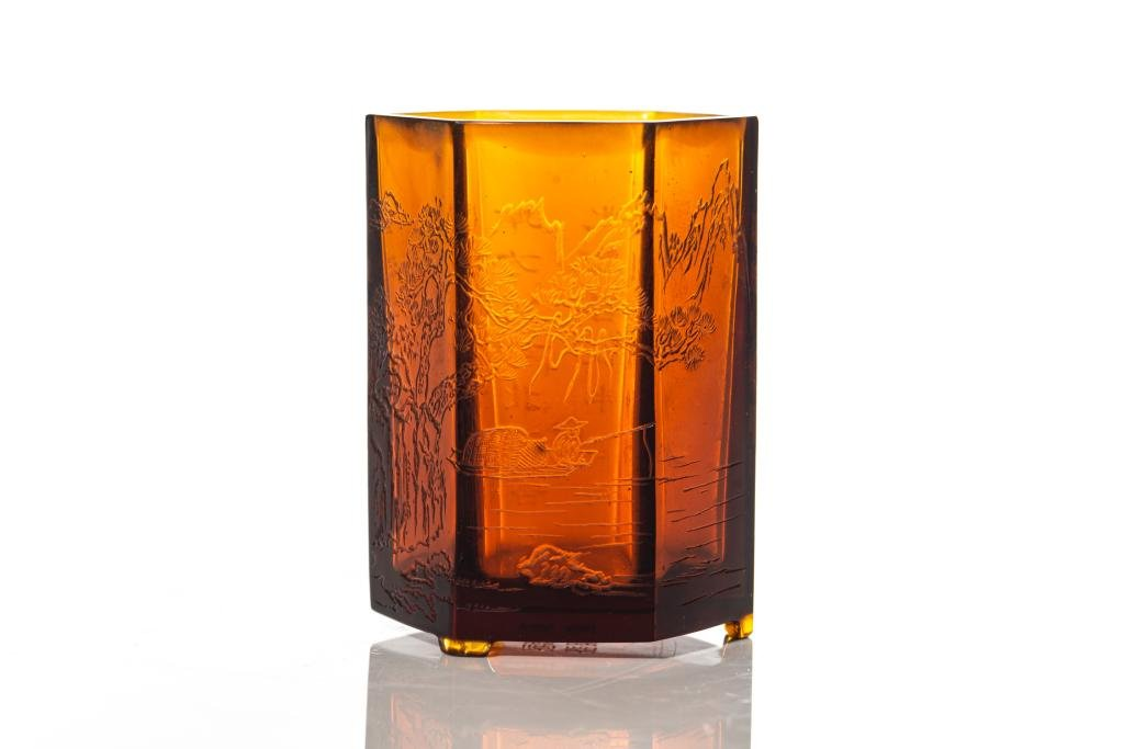 CHINESE AMBER GLASS HEXAGONAL BRUSHPOT