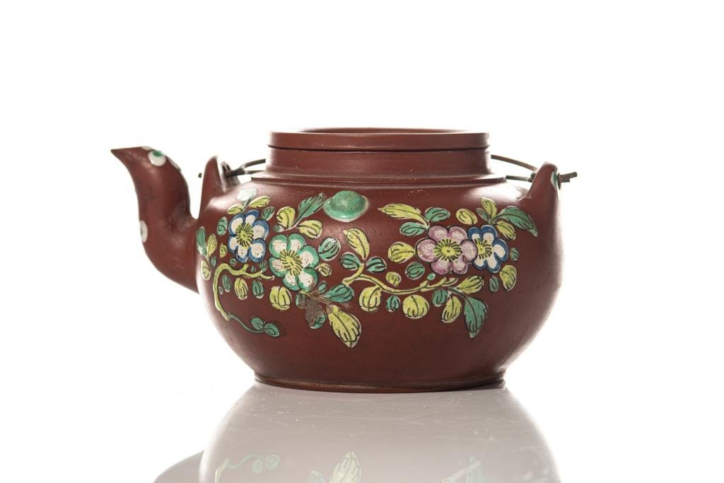 CHINESE PAINTED YIXING POTTERY TEAPOT