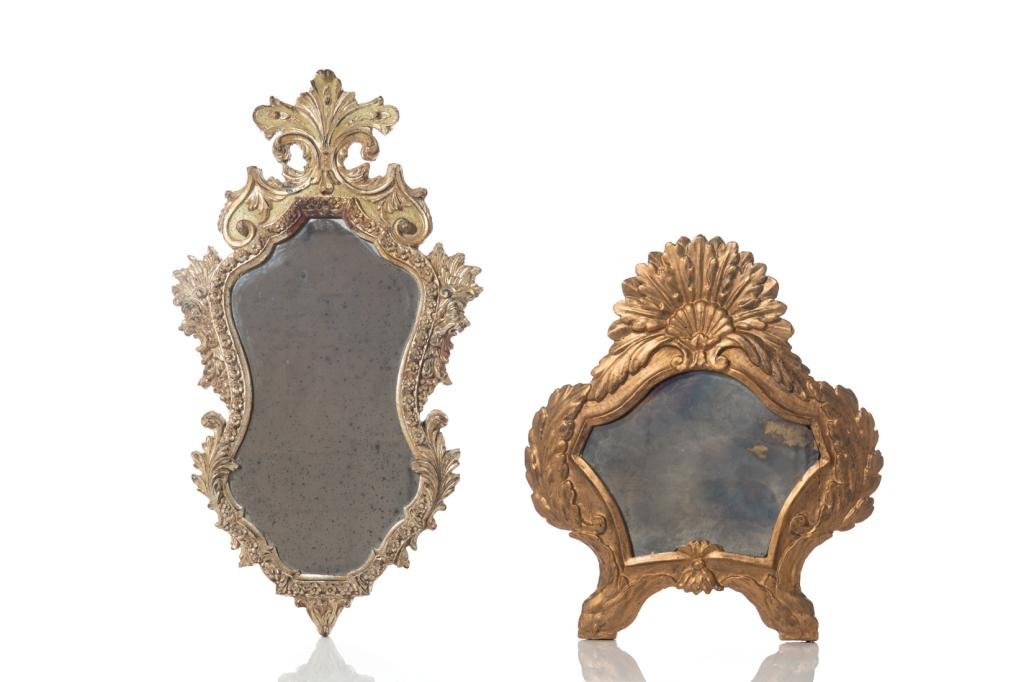 TWO CARVED GILTWOOD MIRRORS