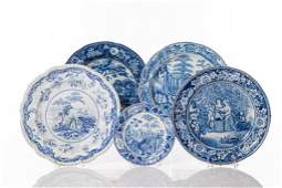 FIVE ASSORTED BLUE & WHITE TRANSFERWARE DISHES