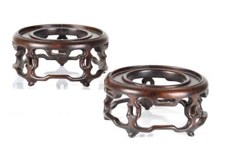 PAIR OF ANTIQUE CHINESE CARVED HARDWOOD STANDS