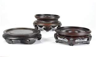 THREE LARGE ANTIQUE CHINESE HARDWOOD STANDS