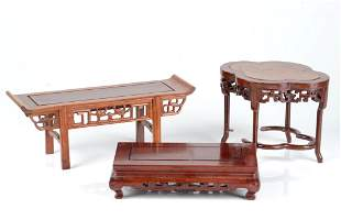 THREE ASSORTED CHINESE HARDWOOD DISPLAY STANDS