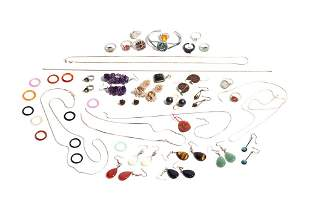 LOT OF COSTUME SILVER JEWELLERY